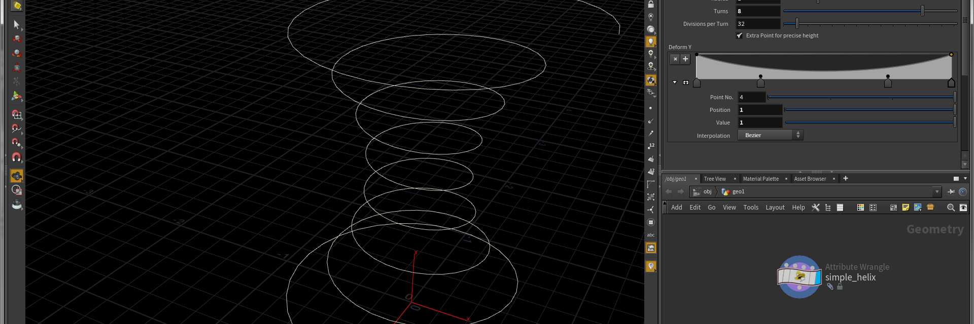 Screenshot SideFx Houdini with a ramp and properties panel